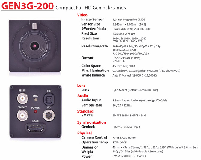 GEN3G-200 Technical Specifications
